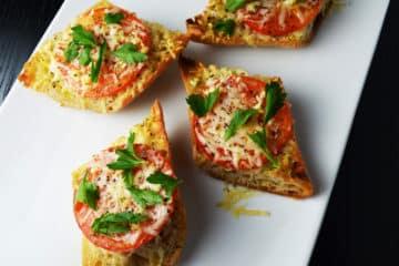 Five Minute Broiled Parmesan Tomato Garlic Baguettes