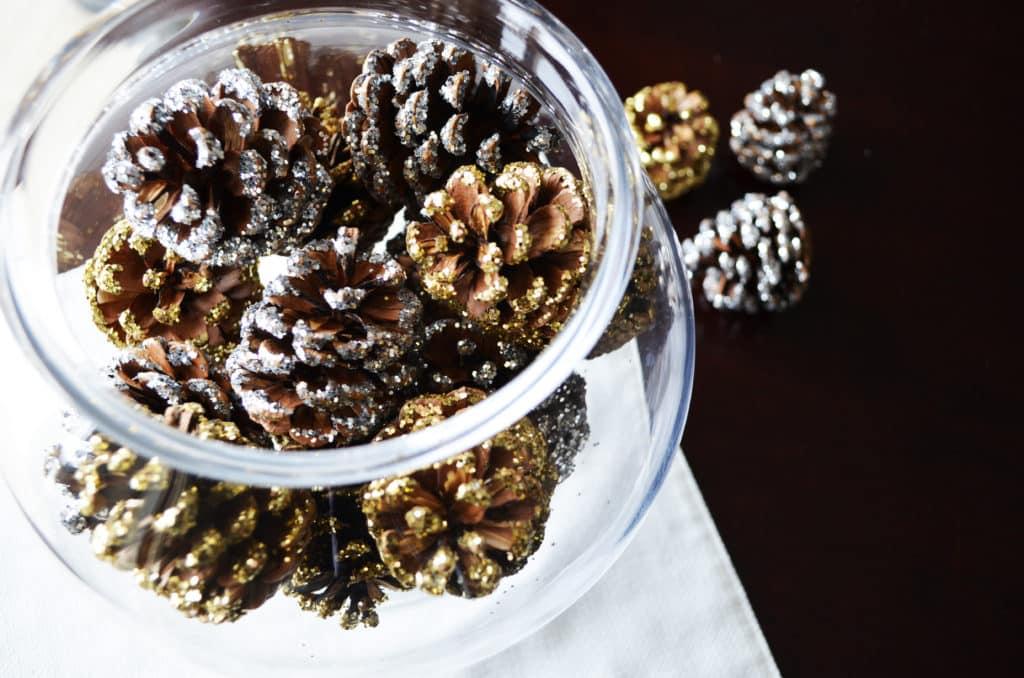 DIY Glittered Pine Cones Vase Filler